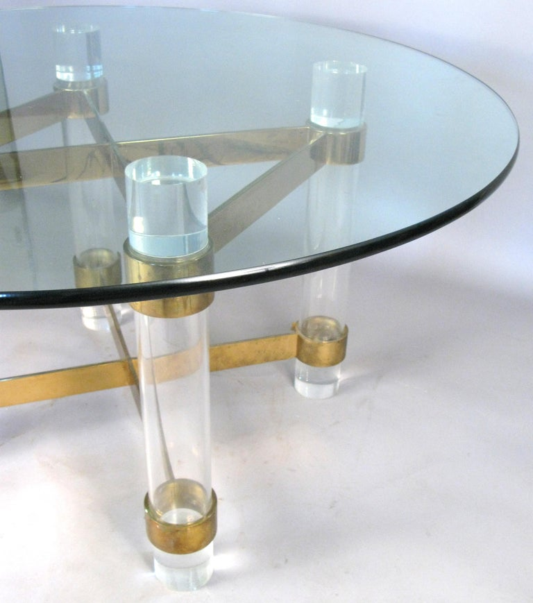 Late 20th Century 1970s Lucite and brass dining table by Charles Hollis Jones. For Sale