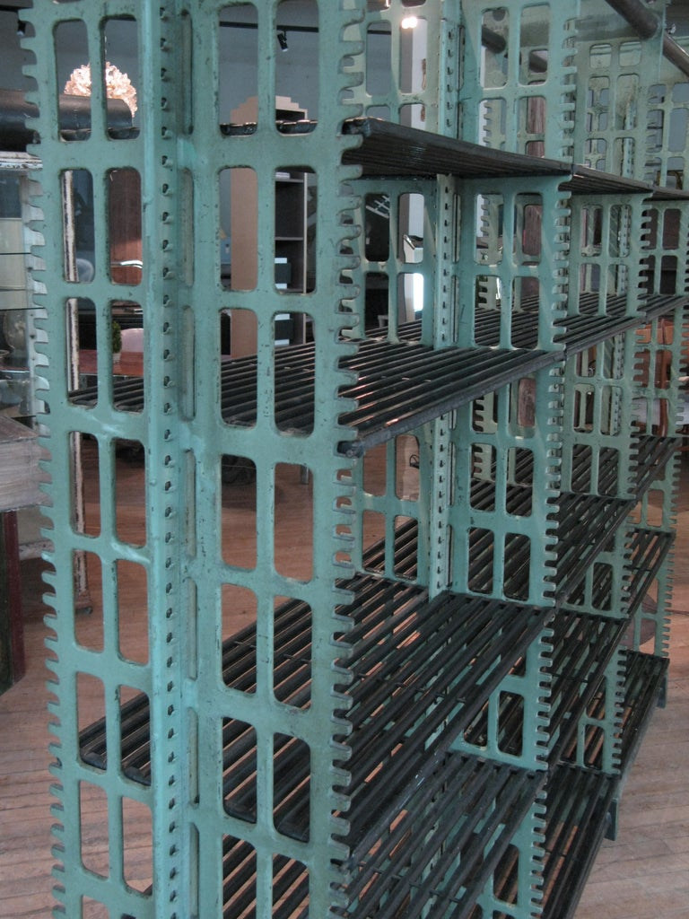 Pair of Antique Cast Iron Archival Library Bookcases by Snead In Good Condition For Sale In Hudson, NY