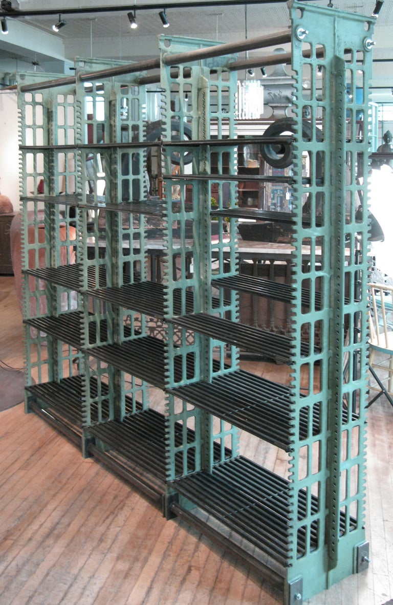 Pair of Antique Cast Iron Archival Library Bookcases by Snead For Sale 3