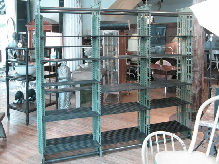 Pair of Antique Cast Iron Archival Library Bookcases by Snead For Sale 4