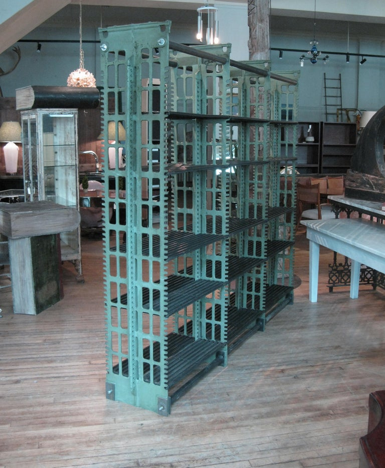 Pair of Antique Cast Iron Archival Library Bookcases by Snead For Sale 5