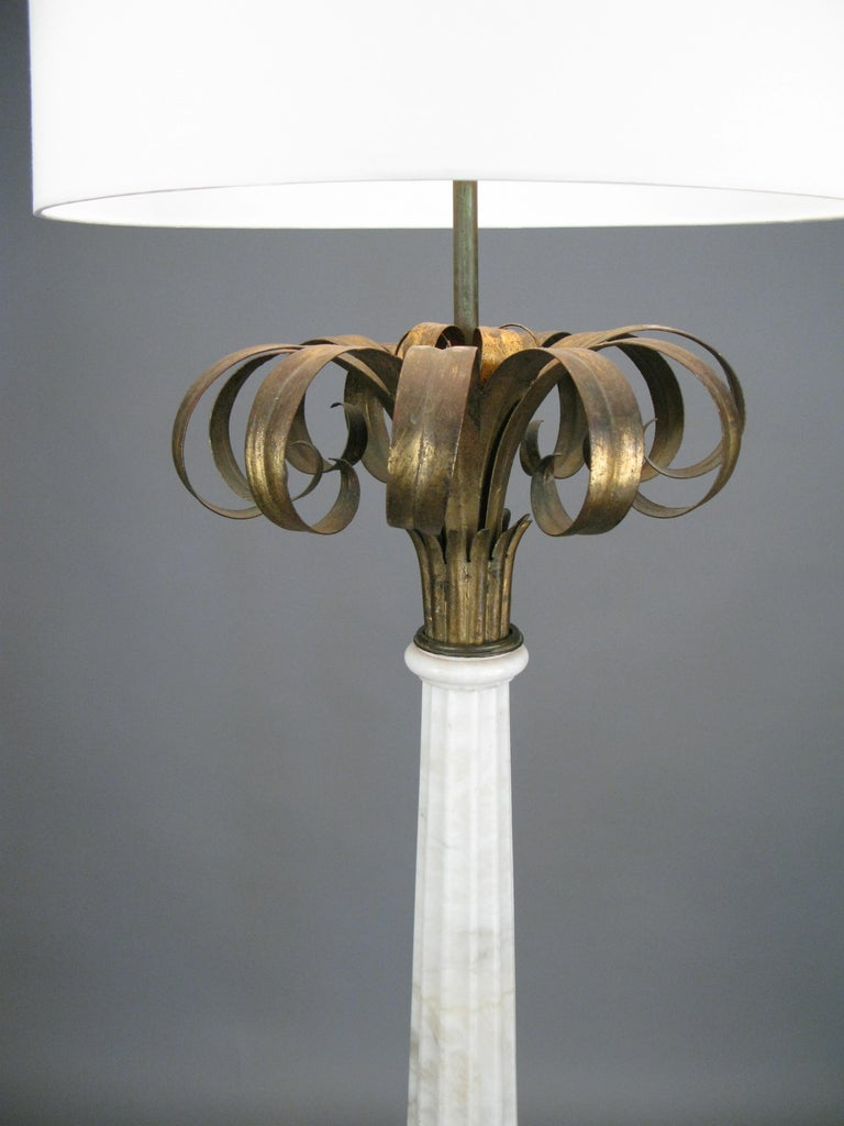 Outstanding Pair of Italian Marble and Gilded Palm Floor Lamps In Good Condition For Sale In Hudson, NY