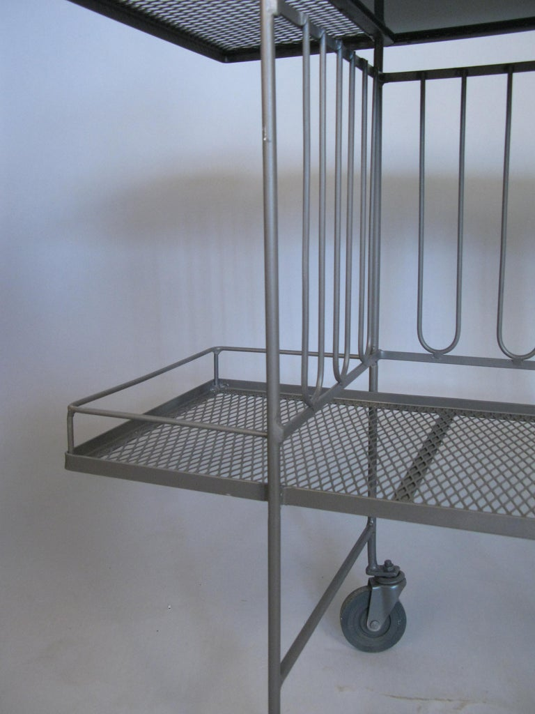 American Wrought Iron and Glass 1950s Bar Cart by Salterini For Sale