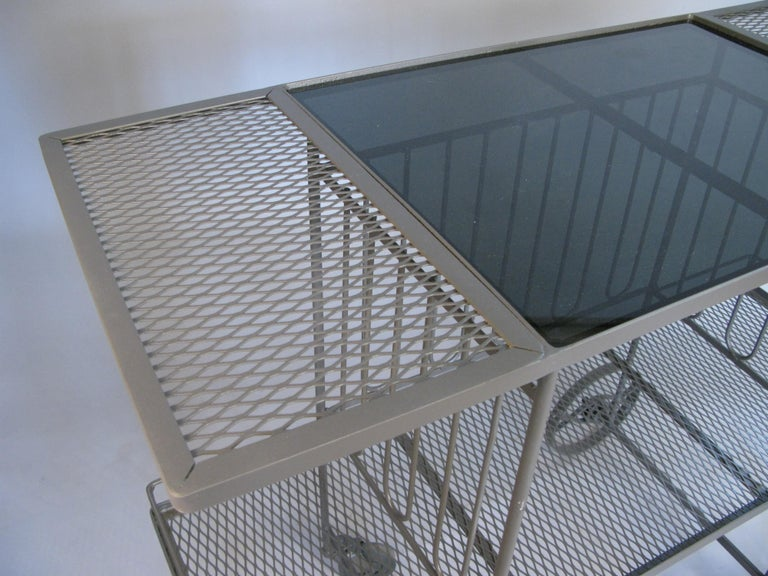 Wrought Iron and Glass 1950s Bar Cart by Salterini In Good Condition For Sale In Hudson, NY