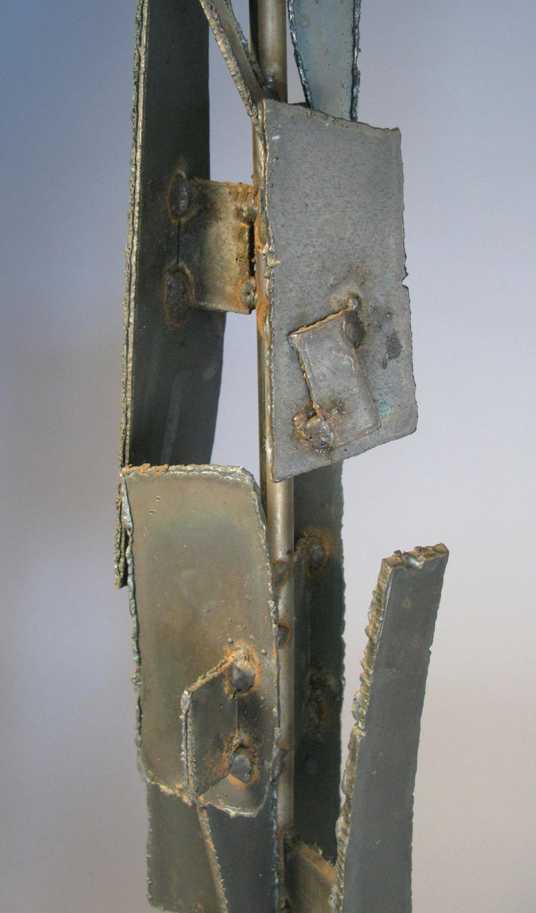 Brutalist Iron and Steel 1960s Table Lamp by Harry Balmer For Sale