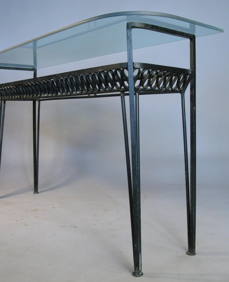 Mid-Century Modern Iron and Glass 1950s Console Table by Salterini For Sale