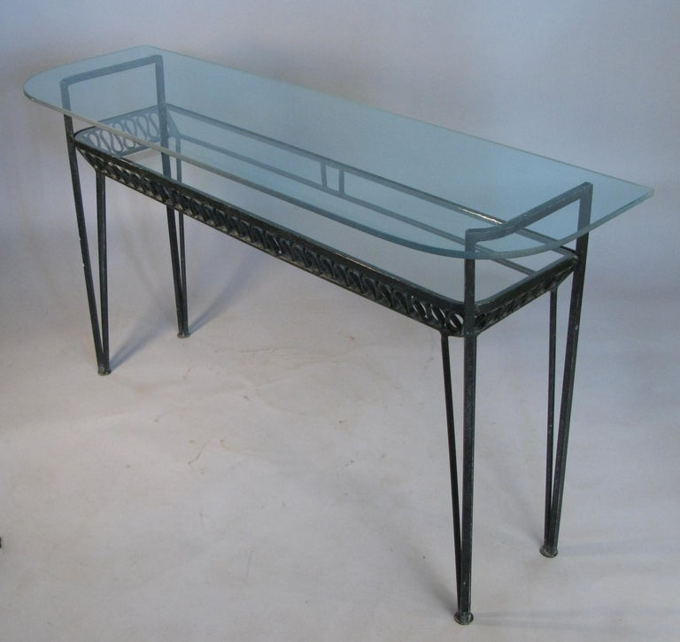 American Iron and Glass 1950s Console Table by Salterini For Sale
