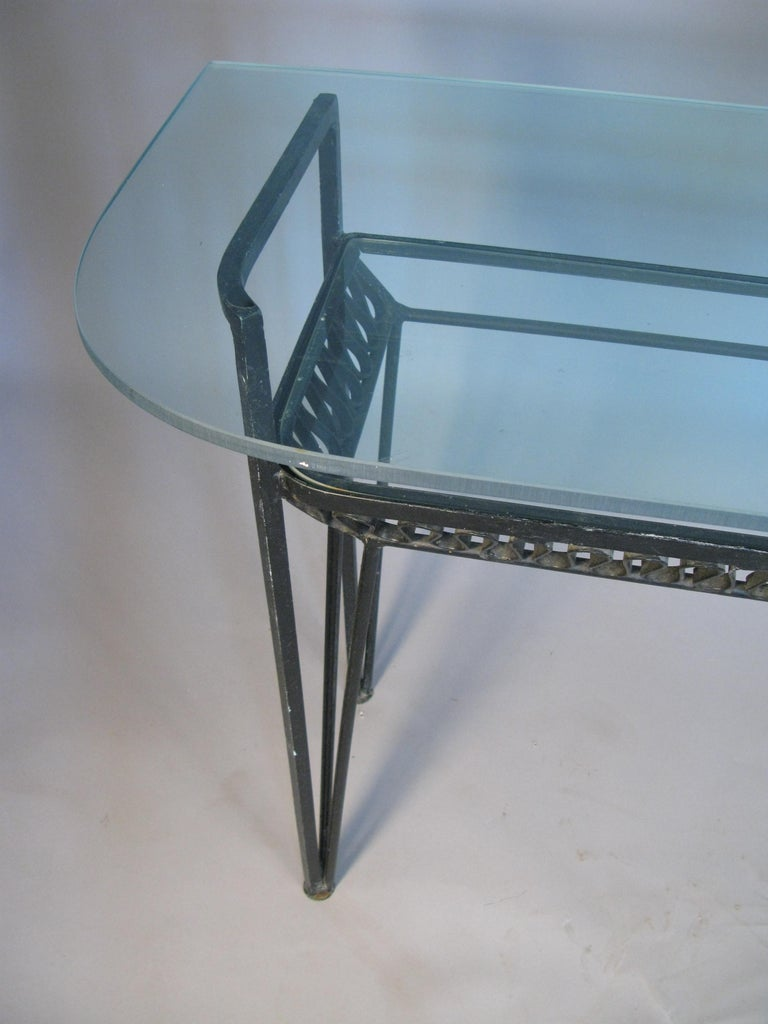 Iron and Glass 1950s Console Table by Salterini In Good Condition For Sale In Hudson, NY