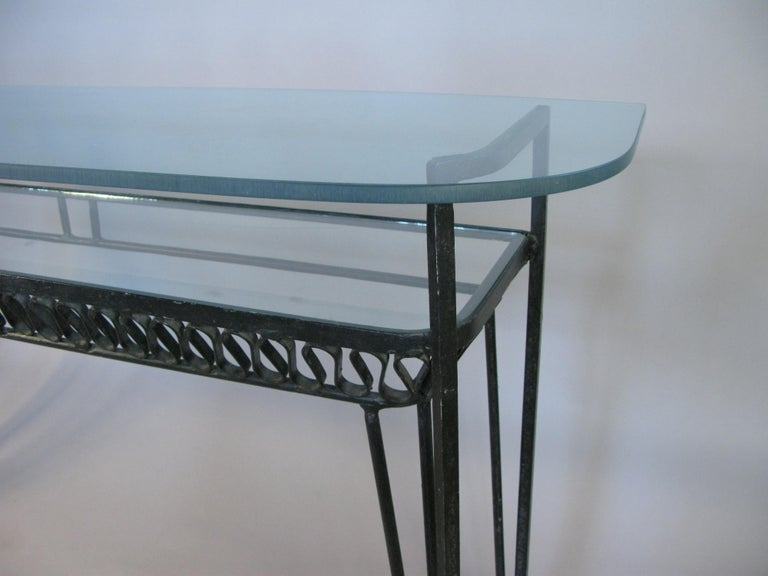 Mid-20th Century Iron and Glass 1950s Console Table by Salterini For Sale