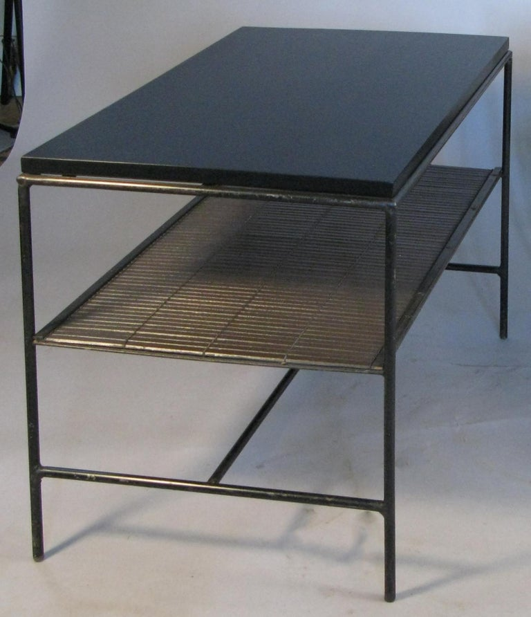 American Pair of Iron and Ebonized Maple Tables or Nightstands by Paul McCobb For Sale