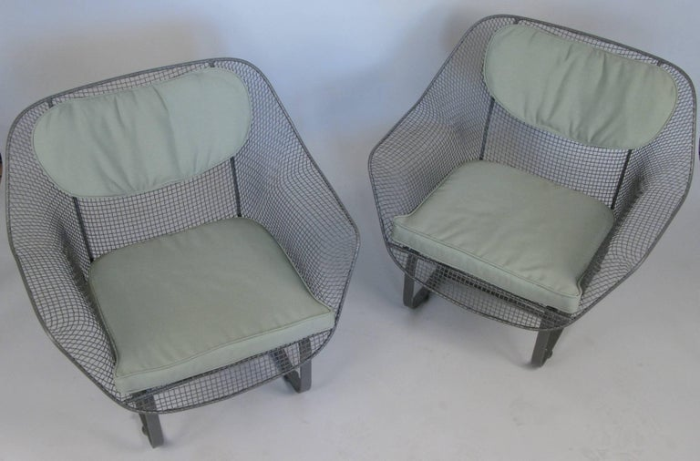 a pair of Classic vintage 1950's 'Sculptura' garden Lounge Chairs by Russell Woodard. the most comfortable and desirable of Russell Woodard's Classic and iconic 'Sculptura' collection, the lounge chair is formed entirely of woven steel mesh, mounted