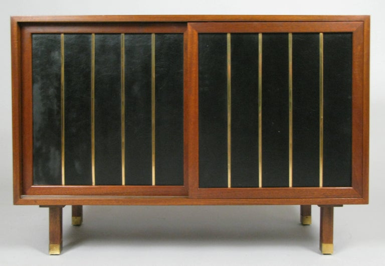 American Walnut and Leather Cabinet by Harvey Probber For Sale