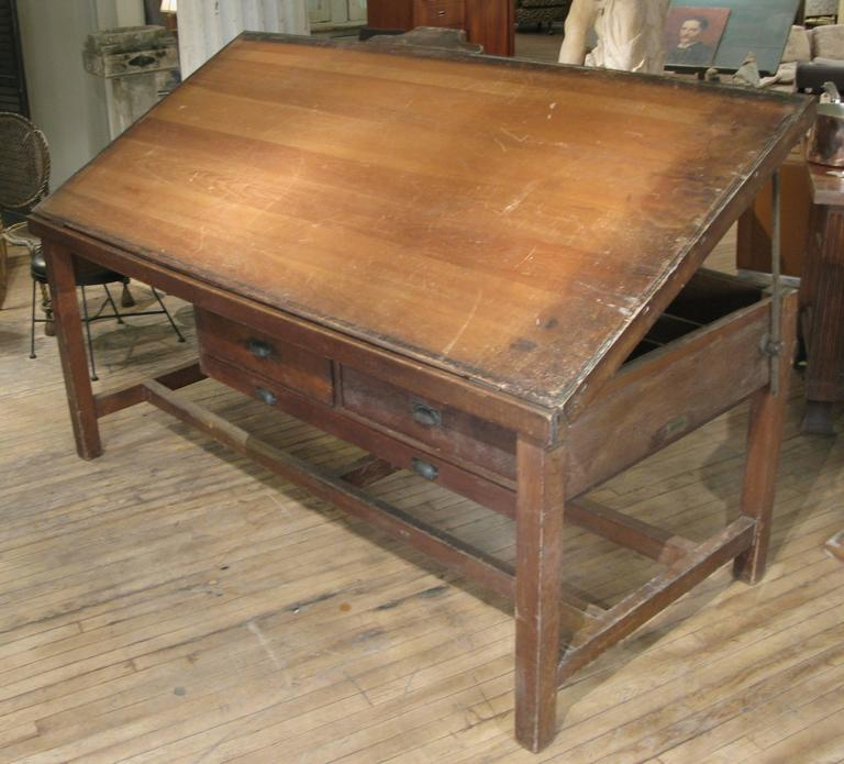 A Very Handsome Large Antique Drafting Desk With Tilt Adjule Top Two Storage