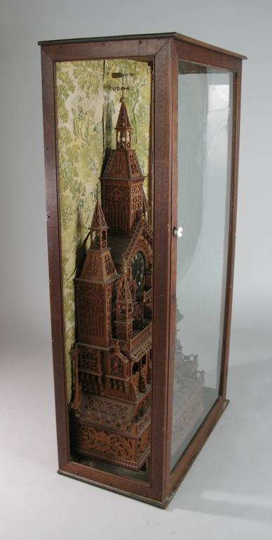 1920s Folk Art Cathedral Mantle Clock in Glass Case For Sale 2