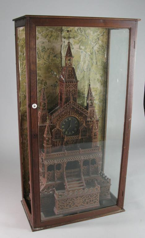 1920s Folk Art Cathedral Mantle Clock in Glass Case For Sale 3