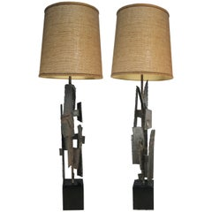 Pair of 1960s Iron and Steel Lamps by Harry Balmer