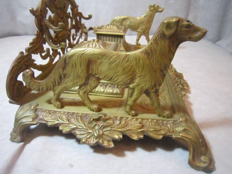 French Gilt Bronze Double Inkwell In Excellent Condition For Sale In San Francisco, CA