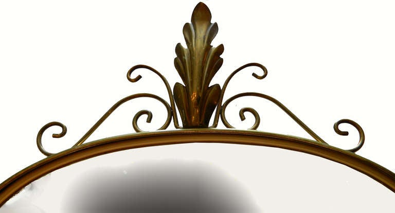 Mid-Century Modern Italian Shield Mirror For Sale