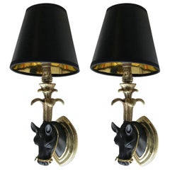 Pair of Maison Baguès Horse Sconces