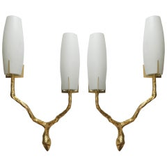 Pair of French Sconces by Arlus circa 1950s the Style of Agostini