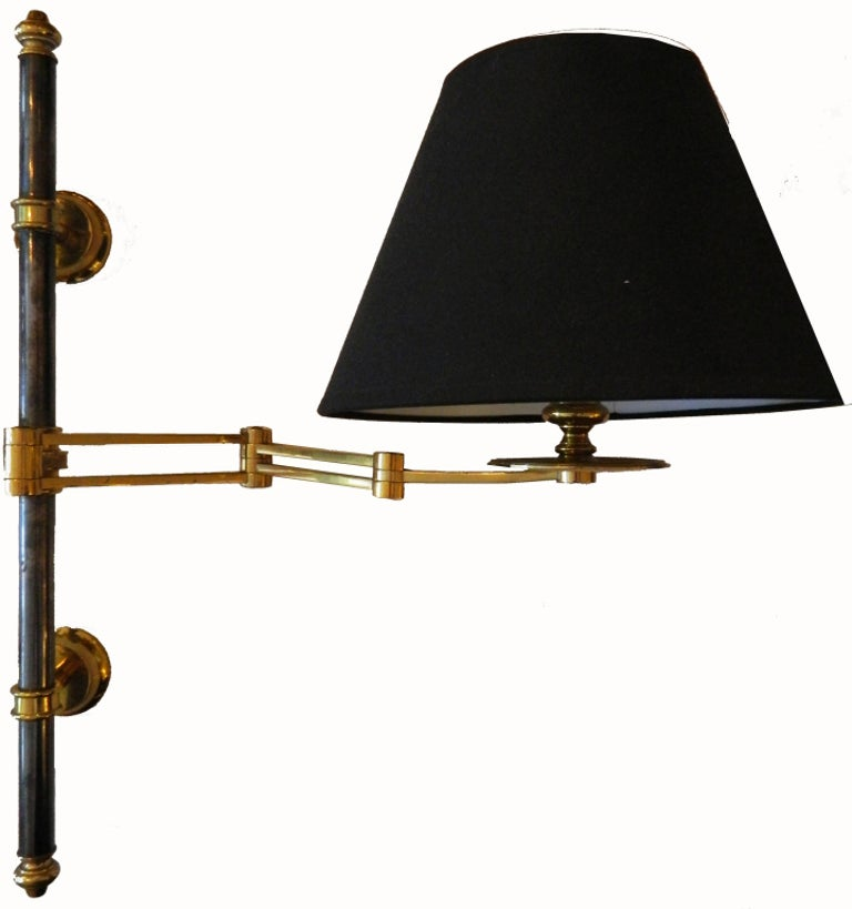 Polished Pair of French Maison Jansen Retractable Wall Sconces, 3 pairs Available