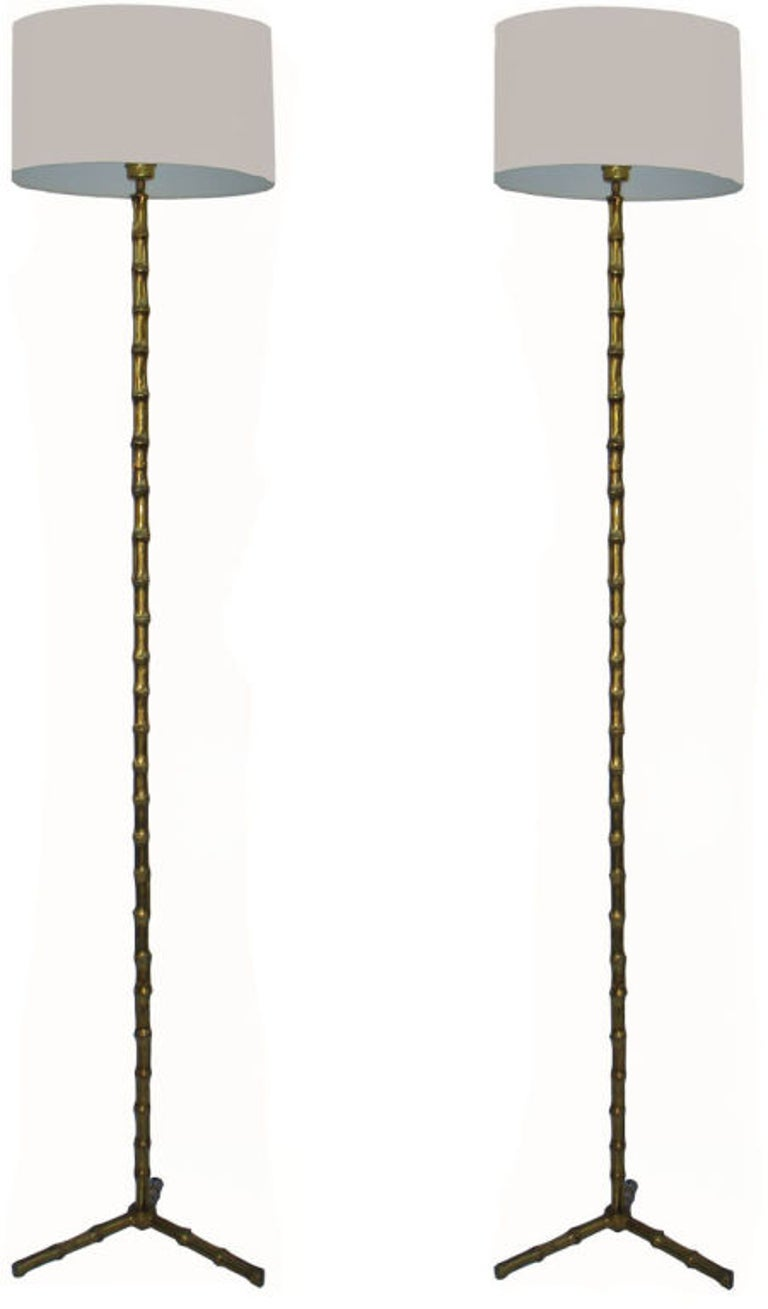 Pair Of Maison Bagus Floor Lamp At 1stdibs Rewiring Antique Lamps Classic And Elegant Bamboo Style Circa 1950s Original Us Rewired