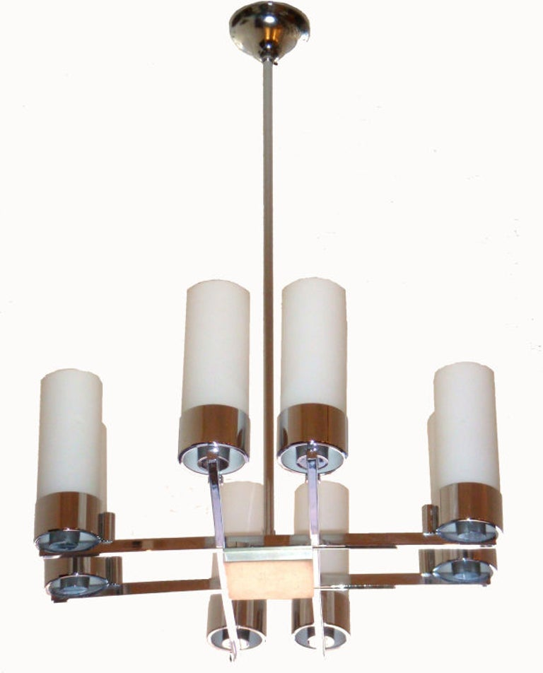 Mid-Century Modern Pair of Jacques Adnet Chandeliers For Sale