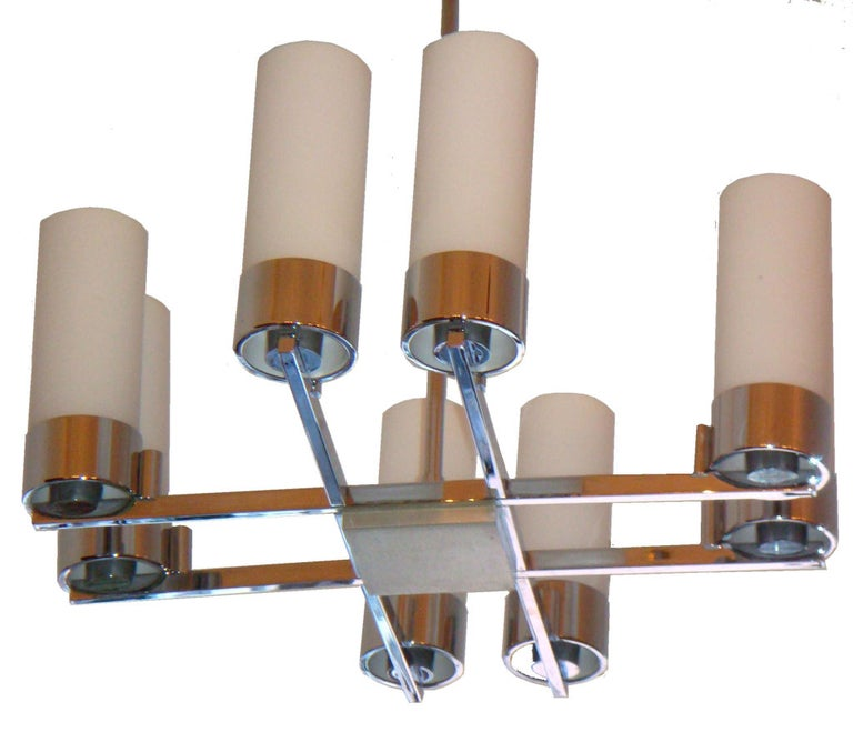 French Pair of Jacques Adnet Chandeliers For Sale