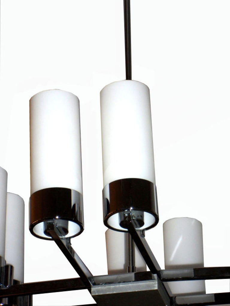 Pair of Jacques Adnet Chandeliers In Excellent Condition For Sale In Miami, FL