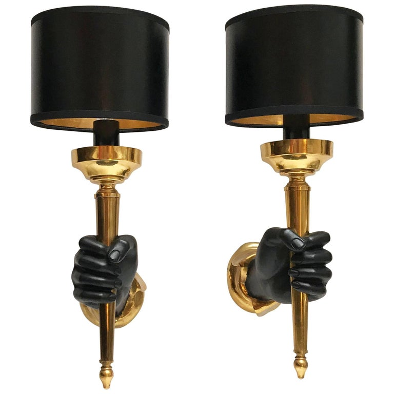 Pair of Andre Arbus Style Bronze Sconces, 2 Pairs Available