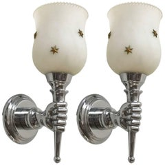 Pair of Andre Arbus Style Sconces, 2 Pairs Available, Priced by Pair