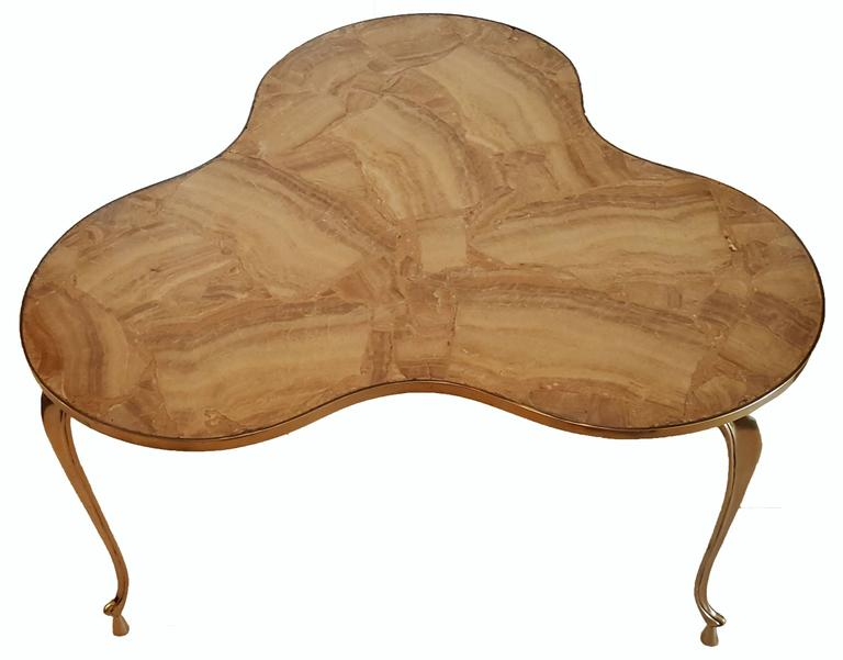 Superb bronze and marble-top coffee table Willy Daro style.