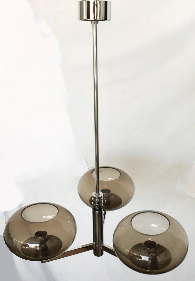Mid-Century Modern Pair of Gaetano Sciolari Chrome Chandelier For Sale