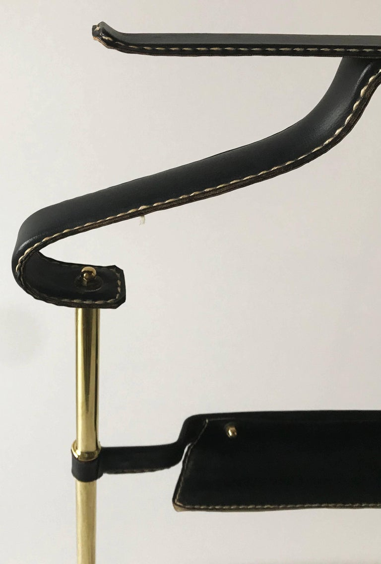 French Jacques Adnet Leather Valet For Sale