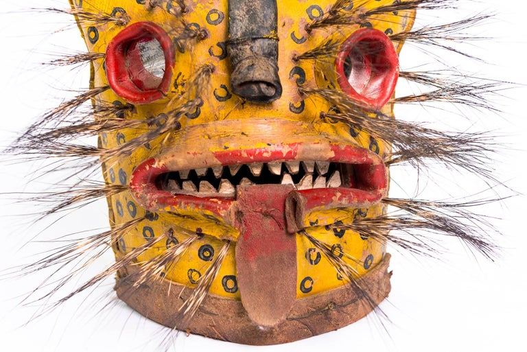 Tribal Leather Jaguar Ceremonial Masks from Zitlala Guerrero, Mexico For Sale