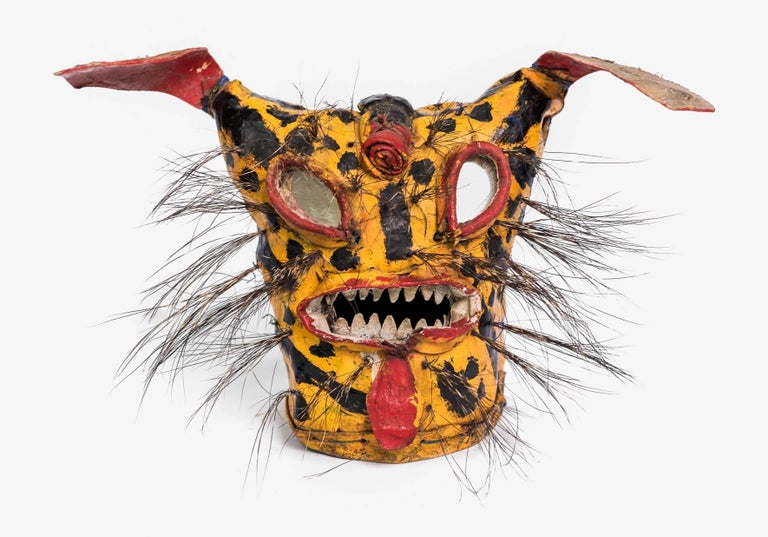 20th Century Leather Jaguar Ceremonial Masks from Zitlala Guerrero, Mexico For Sale