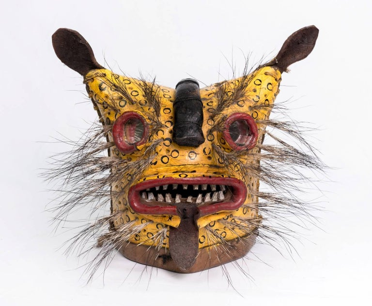 Leather Jaguar Ceremonial Masks from Zitlala Guerrero, Mexico For Sale 2
