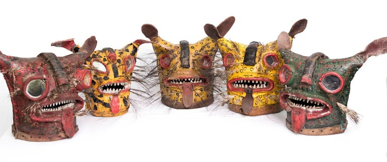 Leather Jaguar Ceremonial Masks from Zitlala Guerrero, Mexico For Sale 4