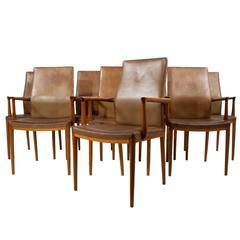 Set of Eight Leather Armchairs by Helge Vestergaard-Jensen