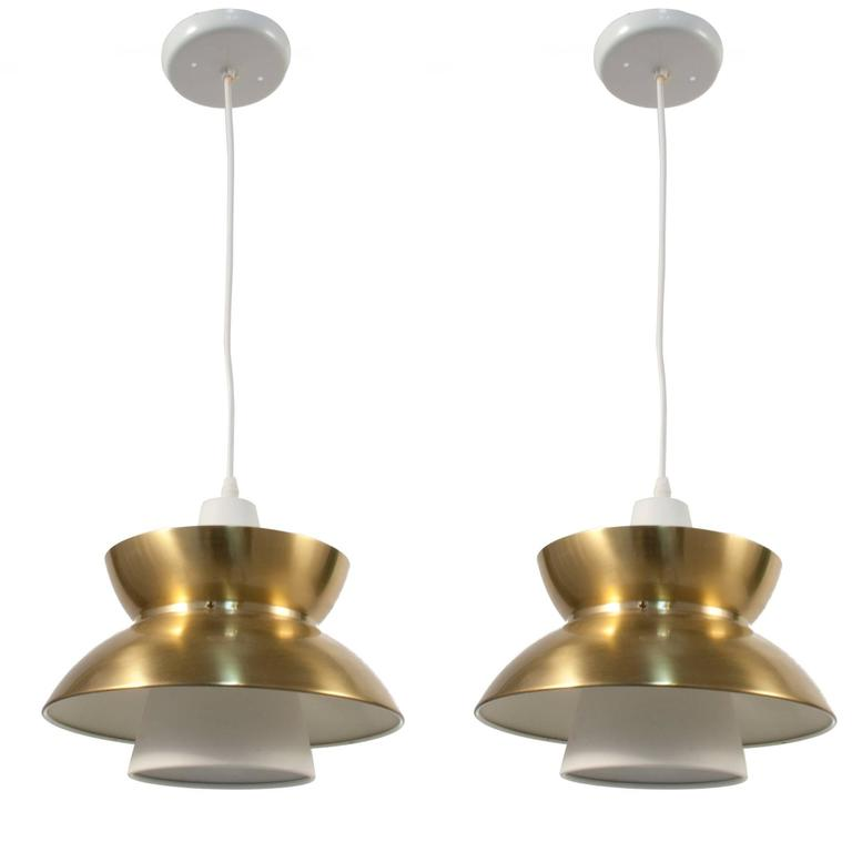 Pair Of Brass And Steel Pendants By Jorn Utzon At 1stdibs