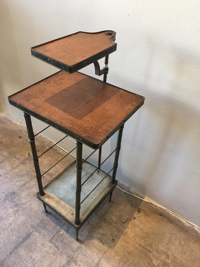 Very Unique Leather And Br Side Table Entry With Swing Arm Tray Solid