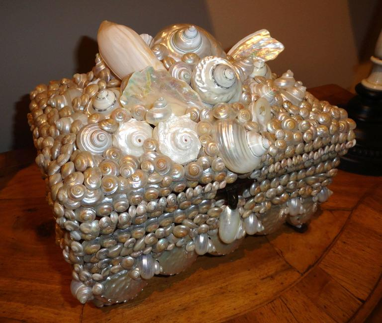 Shell covered Coquillage Box  For Sale 3