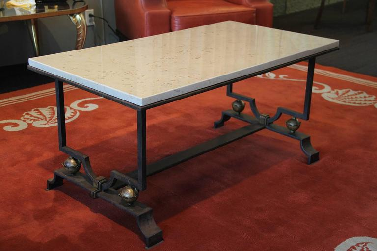 French Quinet & Poillerat Wrought Iron Coffee Table  For Sale