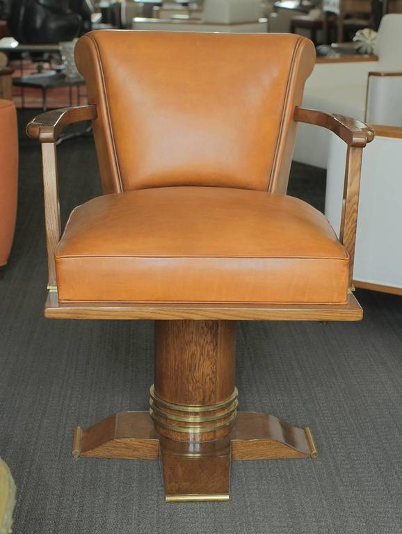 French Exceptional and Rare Oak and Brass Swivel Desk Chair, 1930 For Sale