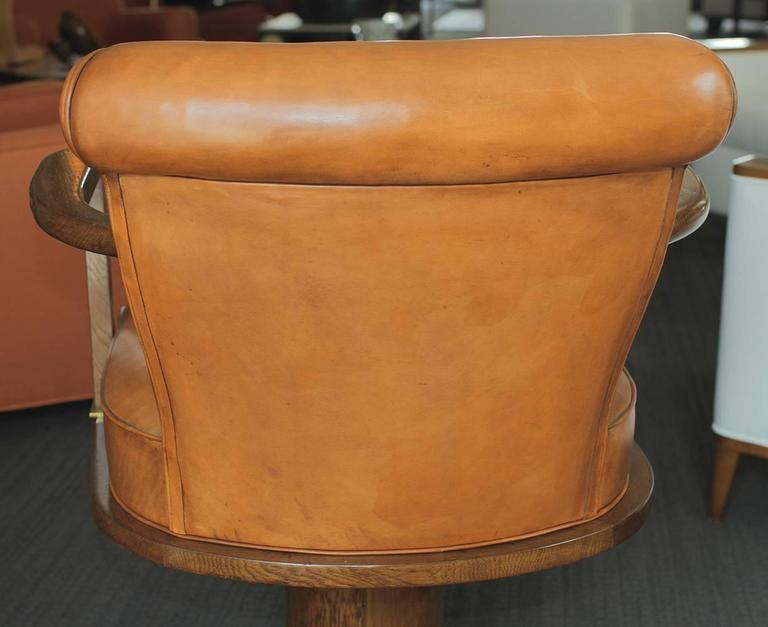 Exceptional and Rare Oak and Brass Swivel Desk Chair, 1930 For Sale 5