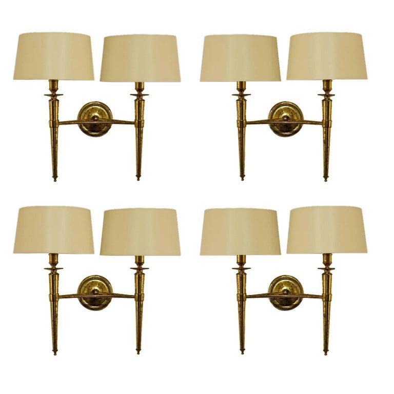 Prince de Galles Hotel, Elegant Set of Four Brass Sconces, 1940 1
