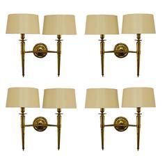 Prince de Galles Hotel, Elegant Set of Four Brass Sconces, 1940