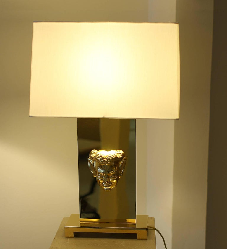 Pair of gilt bronze table lamps by Philip Neri, France/USA Amazing work of gold plating. Each lamp is wired for US with a 40w or 60w light bulb diffusing the light into an ivory pongee custom lampshade. The mask also includes a low voltage light.