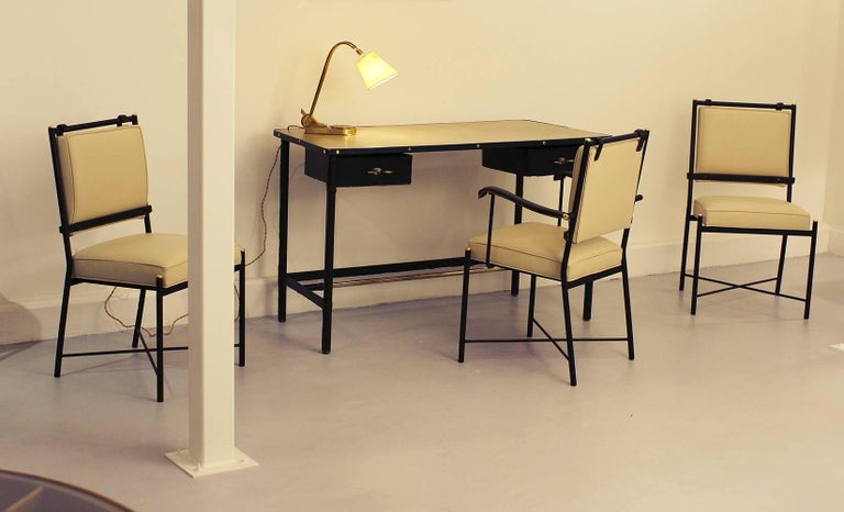 French Exceptional Desk Set by Jacques Adnet For Sale