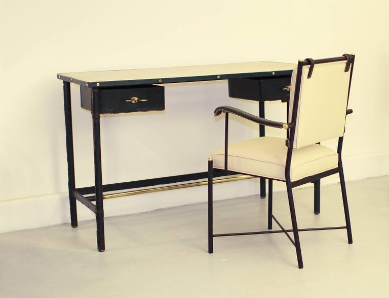 Mid-20th Century Exceptional Desk Set by Jacques Adnet For Sale